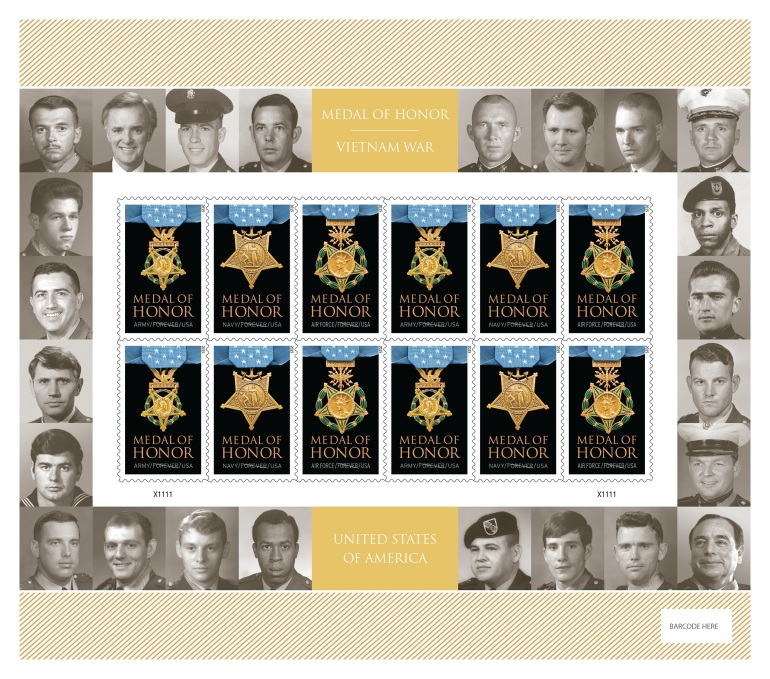 Stamp sheet with photos of the 24 living recipients of the Medal of Honor from the Vietnam War