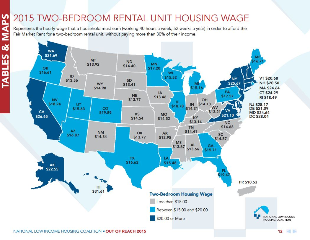 Two-bedroom rental unit housing wage, Source: NLIHC