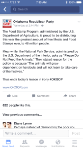 Screen shot of the now deleted Facebook post from the OKGOP