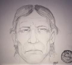 OSBI Forensic Artist Harvey Pratt has sketched the likeness of a person of interest in the case involving a woman found dead today inside a room at the Newcastle Motel.