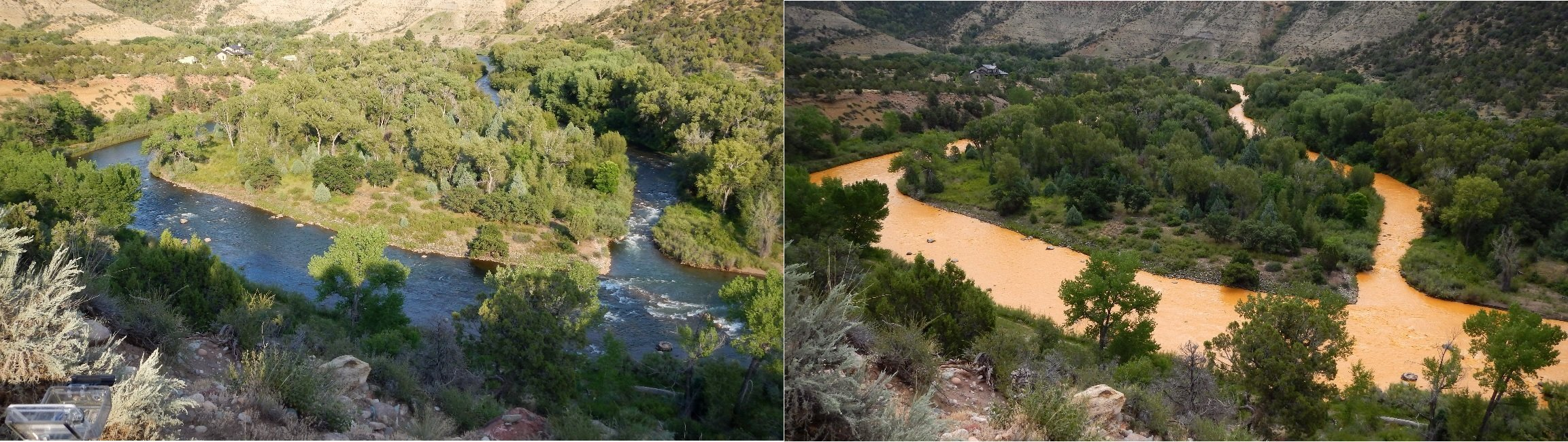 The Animas River before and after a mine waste spill. Credit:Tom Bartles