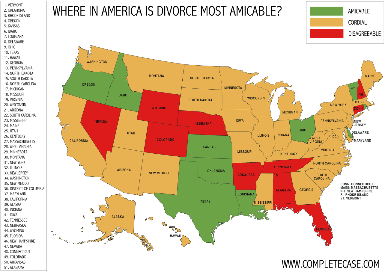 Most amicable divorces in America.  Courtesy: CompleteCase.com