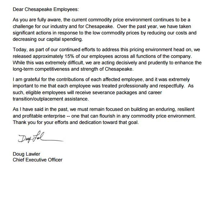 Chesapeake letter