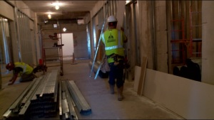 Crews work on third-floor renovations at the Capitol.