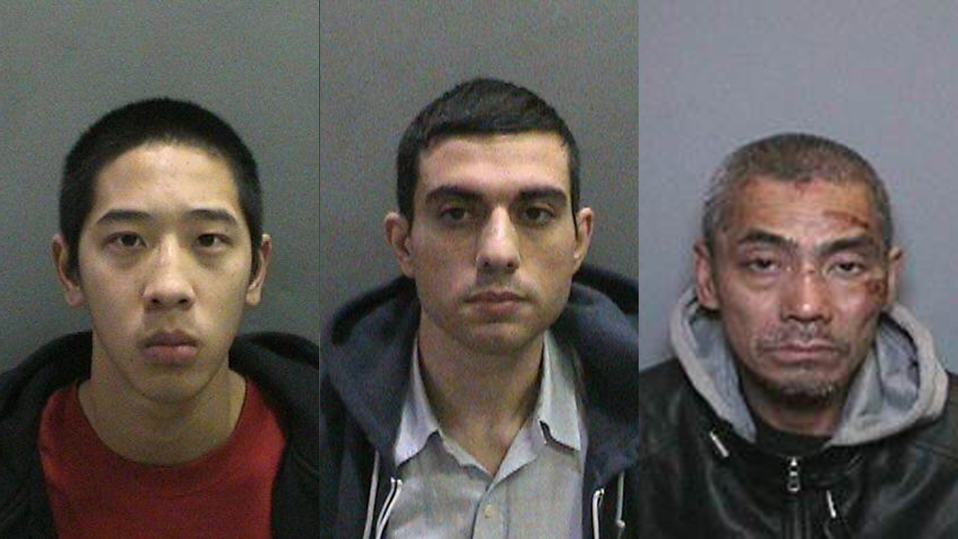 The Orange County Sheriff's Department released these photos of Jonathan Tieu, left, Hossein Nayeri, middle, and Bac Duong, right, on Jan. 23, 2016.