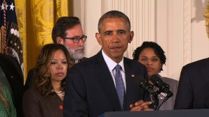 """President Barack Obama said Tuesday that the United States must feel a """"sense of urgency"""" in addressing the wave of mass shootings in recent years. """"We do have to feel a sense of urgency about it,"""" Obama said from the White House, surrounded by gun violence victims and their families."""