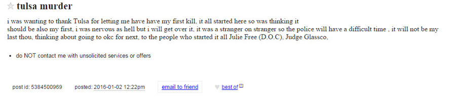 A Craigslist post published from an anonymous user is now under police investigation. via KJRH