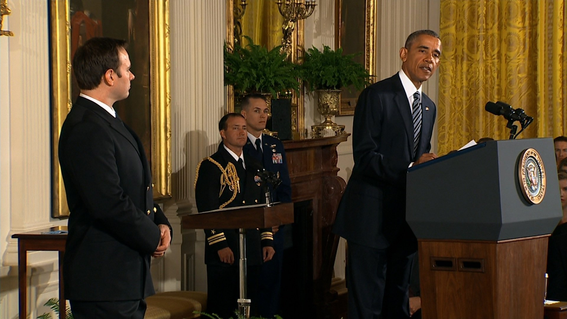 President Obama presents the Medal of Honor to Senior Chief Special Warfare Operator Edward Byers, U.S. Navy East Room