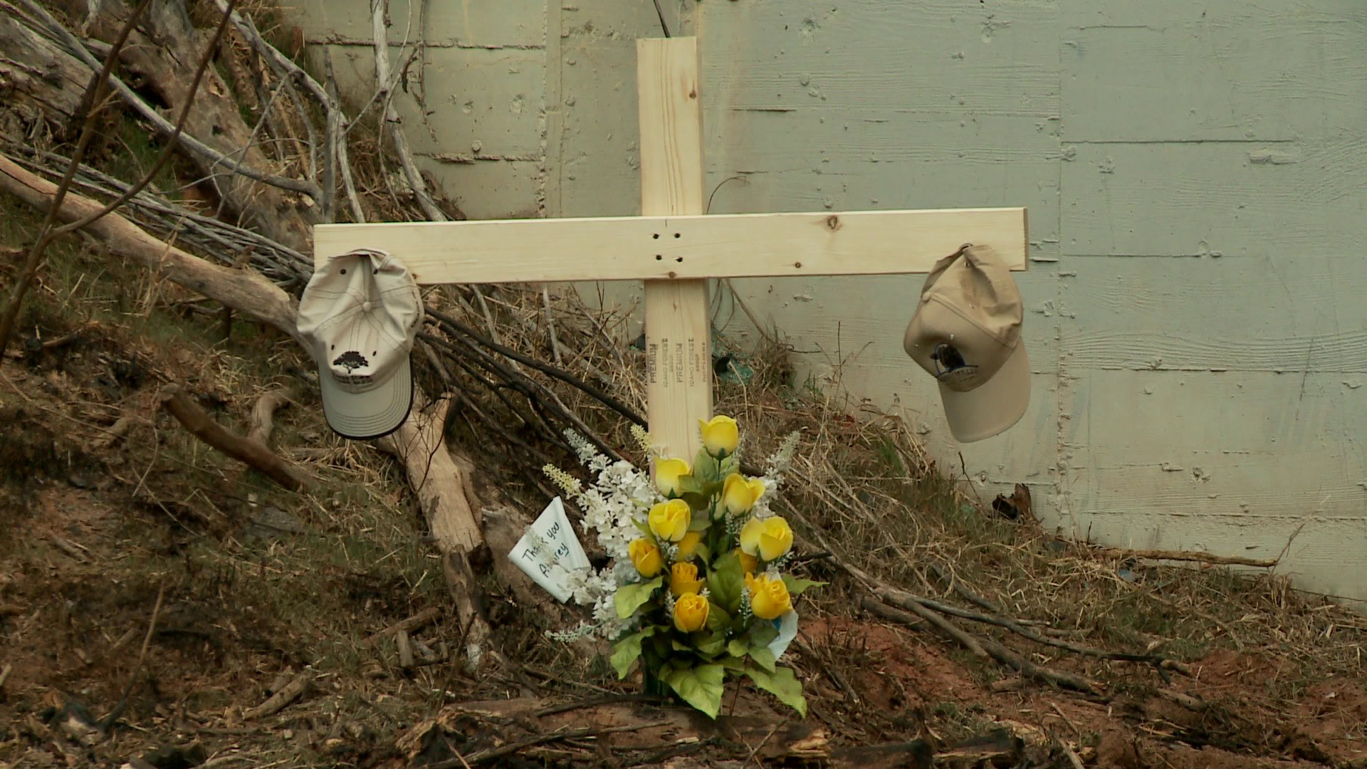Shortly after the accident, a cross was placed at the scene where McClendon crashed his vehicle.