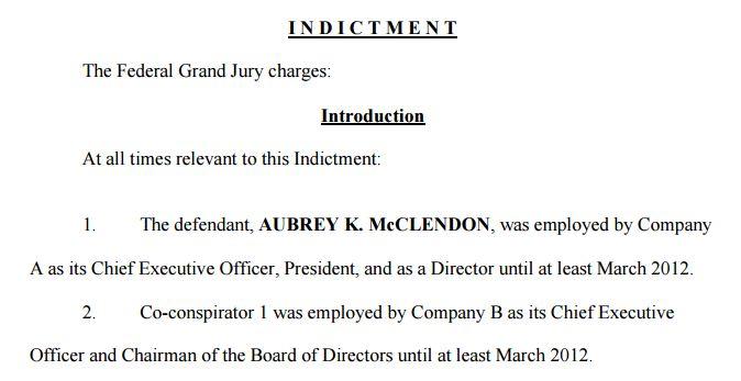 Screengrab of McClendon indictment