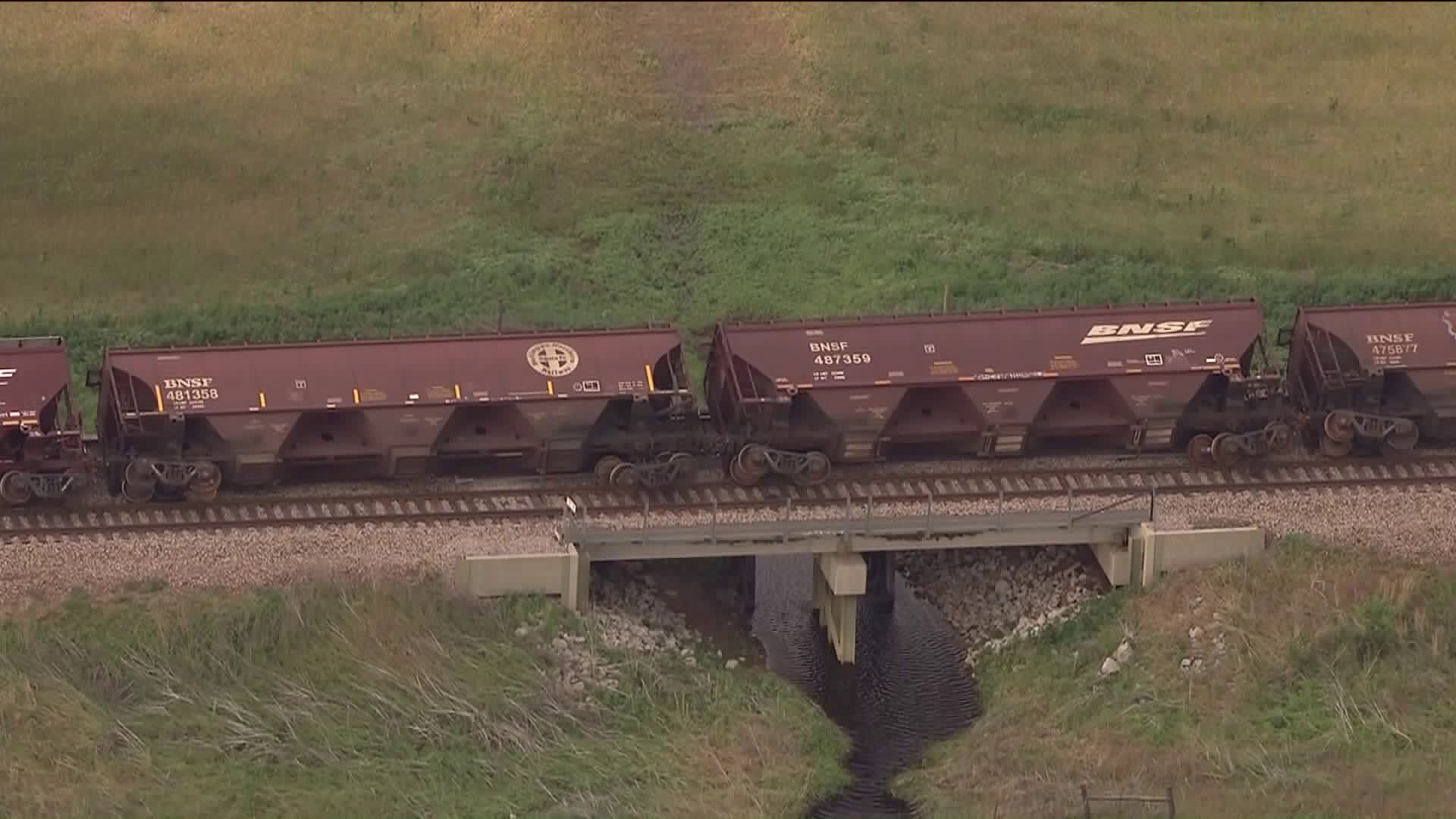 Tornado hit train, causing it to topple over