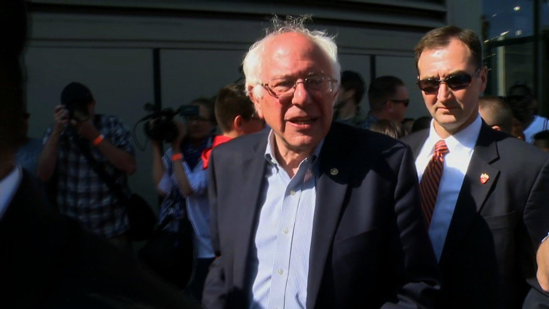 Democratic presidential candidate Bernie Sanders makes a stop in Hollywood, California, on June 7, 2016. Credit: CNN