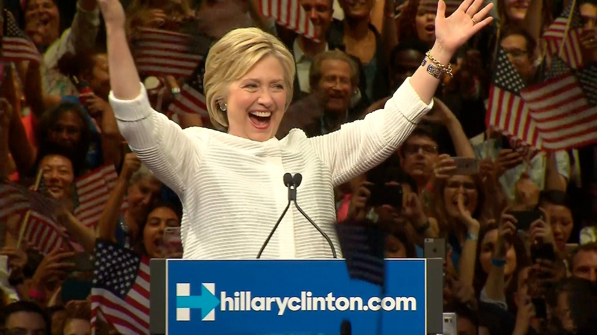Hillary Clinton embraced her place in history Tuesday as the first woman to become the presidential nominee of a major political party. Credit: POOL
