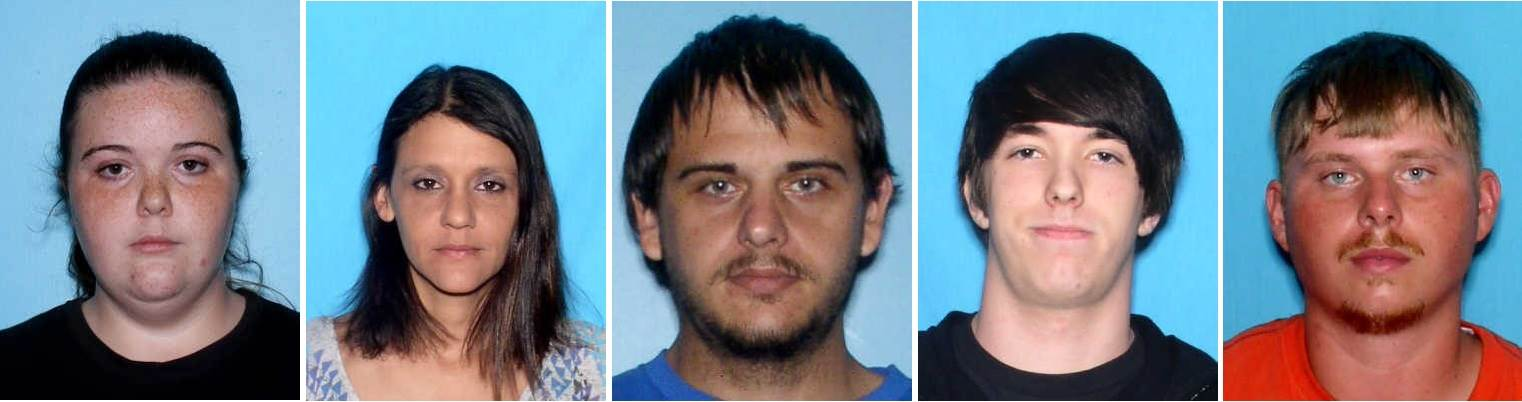 From left: Murder victims Chelsea Marie Reed, who was five months pregnant; Shannon Melissa Randall; Robert Lee Brown; Justin Kaleb Reed; and Joseph Adam Turner. Mobile County Sheriff's Office