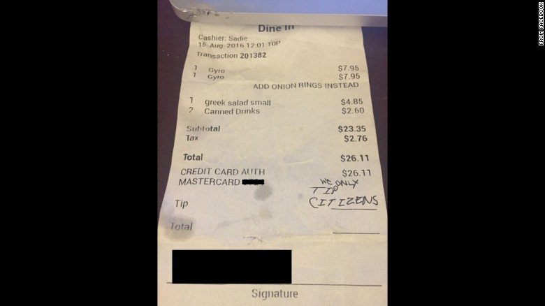 Latina waitress gets a nasty note instead of tip. via Facebook