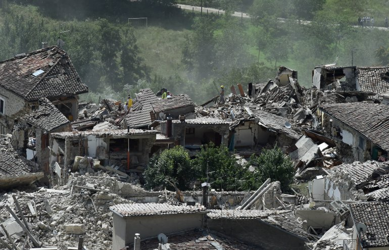 A general view of Pescara del Tronto town destroyed by the earthquake on August 24, 2016 in Pescara del Tronto, Italy. Central Italy was struck by a powerful, 6.2-magnitude earthquake in the early hours, which has killed at least 63 people and devastated dozens of mountain villages. Numerous buildings have collapsed in communities close to the epicenter of the quake near the town of Norcia in the region of Umbria, witnesses have told Italian media, with an increase in the death toll highly likely (Photo by Giuseppe Bellini/Getty Images)
