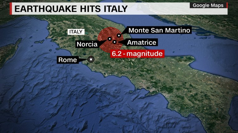 A 6.2-magnitude strong, shallow earthquake hit central Italy early Wednesday, killing at least 63 people and leaving rescuers desperately digging through the rubble to free survivors. Credit: CNN