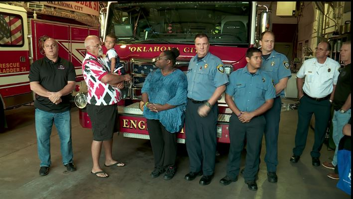 Firefighters donate money to help family affected by fire