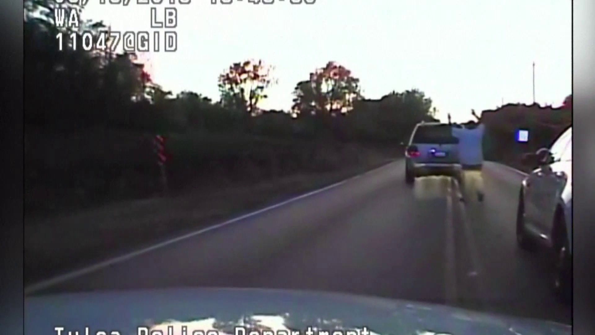 Still from video that shows moments before Terence Crutcher was shot to death by Tulsa police officer