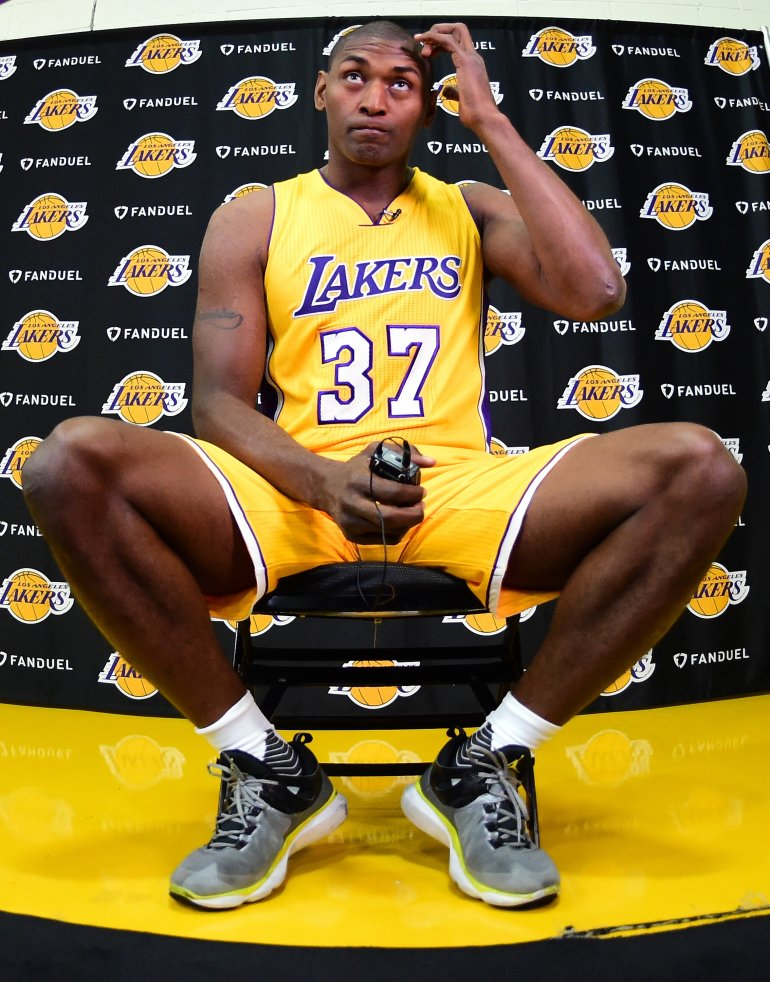 Metta World Peace #37 of the Los Angeles Lakers sits for an interview during Los Angeles Laker media day at Toyota Sports Center on September 26, 2016 in El Segundo, California. (Photo by Harry How/Getty Images)