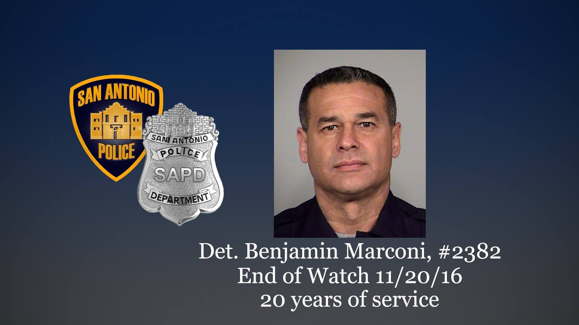 Investigators in San Antonio, Texas, are continuing their search for a gunman who they say killed officer detective Ben Marconi during a traffic stop on Sunday, November 20, 2016.  Pictured is 50-year-old Det. Benjamin Marconi.