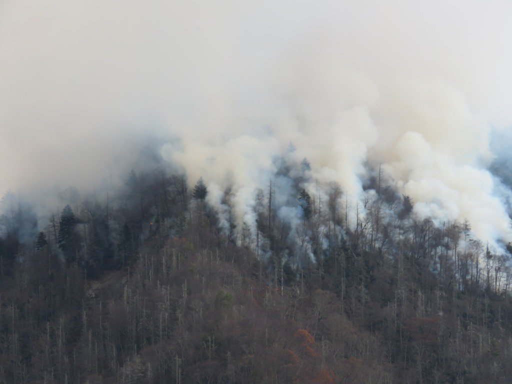 Southern wildfires, Credit:	@GreatSmokyNPS/Twitter