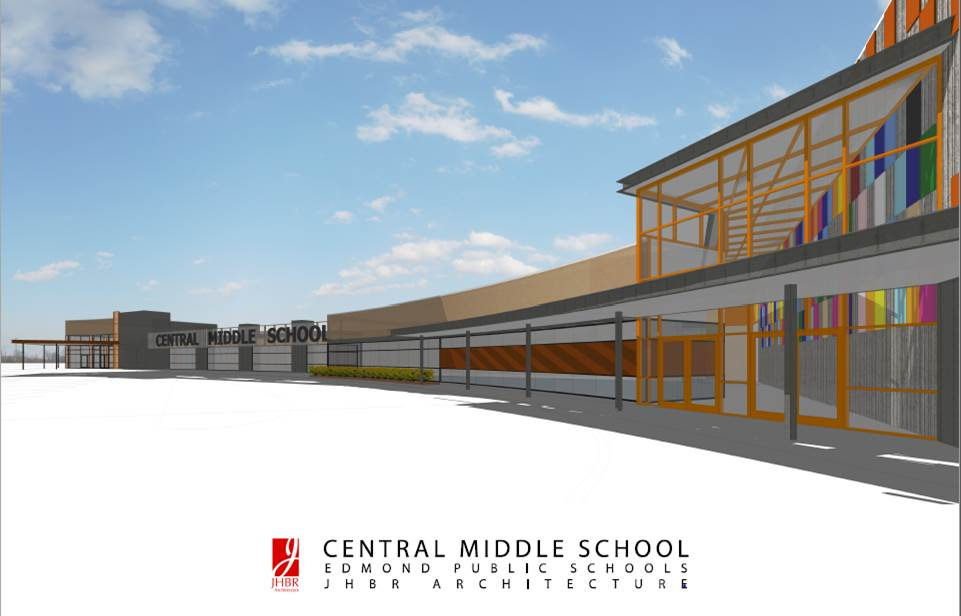 An architectural rendering by JHBR shows the addition of a practice gymnasium that would double as a storm shelter at Central Middle School.