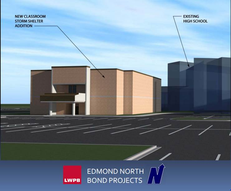 An architectural rendering by LWPD shows a new classroom addition that would double as a storm shelter at Edmond North High School.