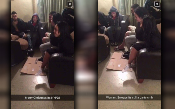 A police officer posted a photo of Kimberly Santiago and her family handcuffed in their living room. New York Police Department says incident is under internal review. Credit:	Kimberly Santiago