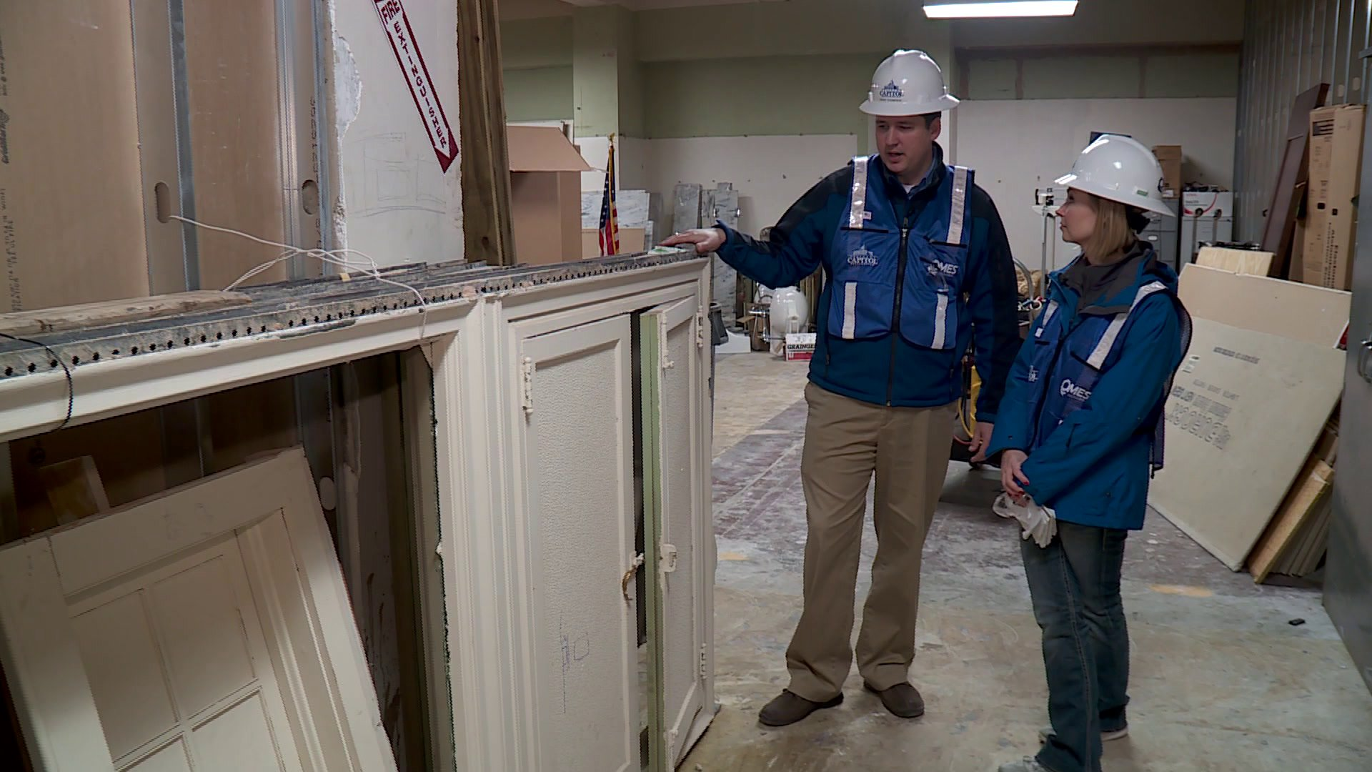 Construction crews discovered these windows inside the capitol