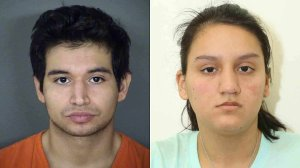 Isaac Andrew Cardenas, left, and Crystal Herrera are seen in booking photos released by the Bexar County Sheriff's Office.