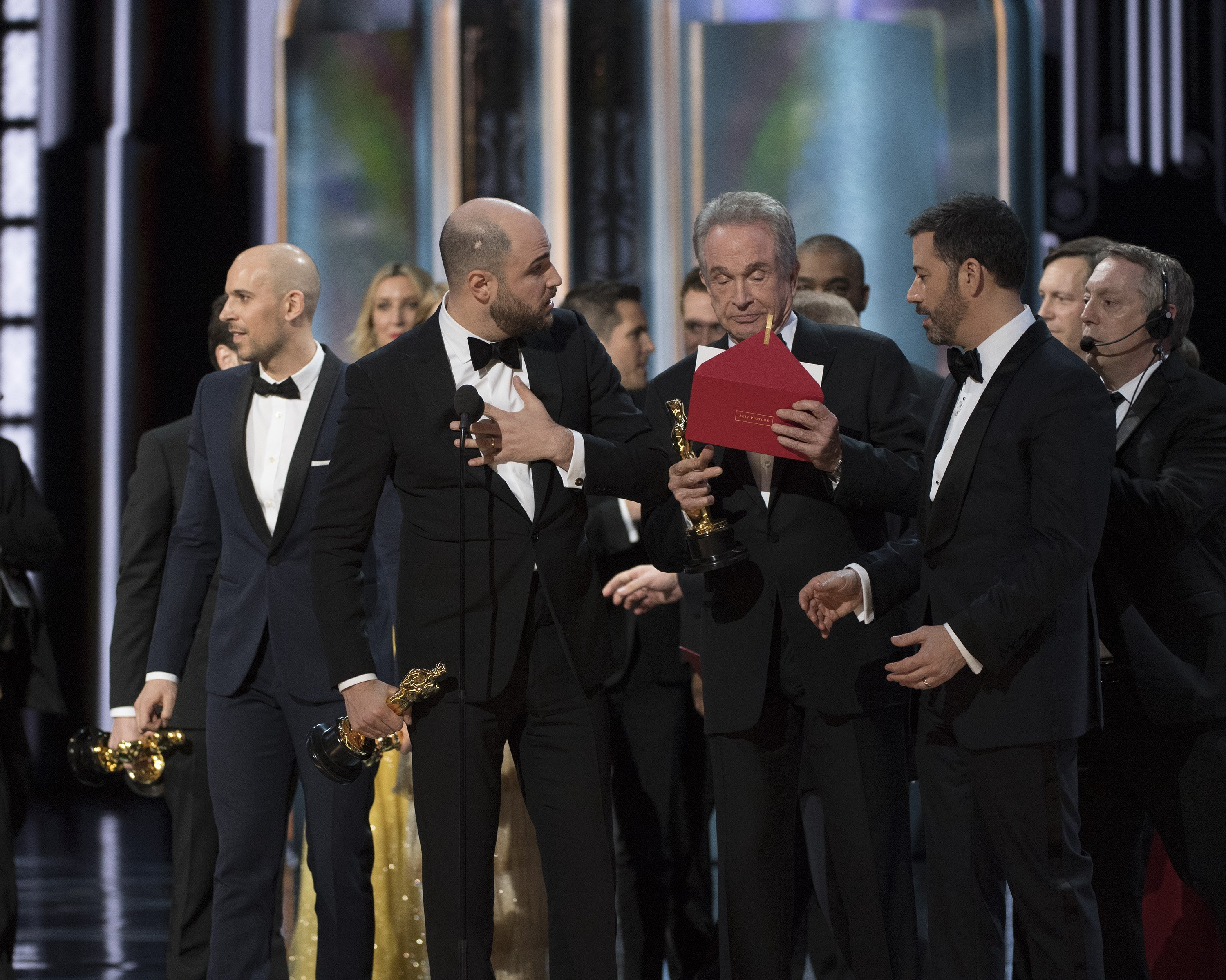 "Not only did ""Moonlight"" pull out a surprise win over ""La La Land"" for best picture, but their big moment came after presenters Warren Beatty and Faye Dunaway accidentally announced the wrong winner. Credit:Eddy Chen/ABC"