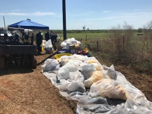 Crude oil spill clean up crews work in Kingfisher County