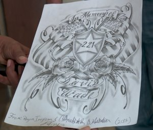 A sketch created by Logan County jail inmates in memoriam of Deputy David Wade, who was shot and killed Tuesday, April 18, 2017, given to Logan County Sheriff Damon Devereaux. (KFOR/Kevin Josefy)