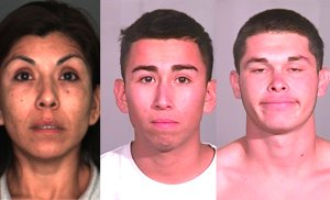 Alma Quezada (left), Edward Morales (center) and Richard Gonzalez (right), are seen in photos released after their arrests in August 2013. (Credit: Fontana Police Department)