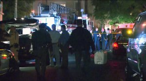 The scene after a man was killed in a deputy-involved shooting in Laguna Niguel is seen here. (Credit: KTLA)