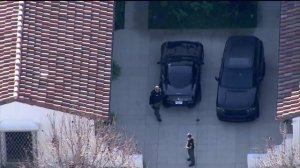 The Los Angeles County Sheriff's Department served a search warrant Tuesday at Justin Bieber's Calabasas mansion in connection with a recent egg-throwing incident, authorities said.  (Credit: KTLA)