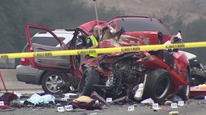 Six people were killed in a crash in Diamond Bar on Sunday morning, Feb. 9, 2014. (Credit: KTLA)