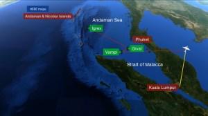Flight waypoints Andaman Islands