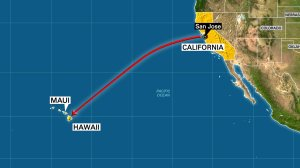 Map showing path from San Jose to Maui