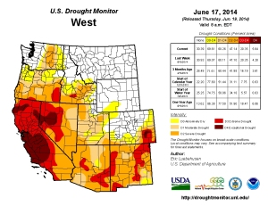 The U.S. Drought Monitor, released June 17, 2014, showed much of California in extreme drought. (Credit: NOAA)