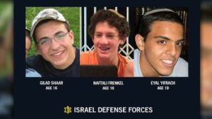 Three teens, Gilad Shaar and Naftali Frenkel, both 16, and Eyal Yifrach, 19, were last seen around Gush Etzion, on the Israeli side of the West Bank barrier later June 12 or early June 13, 2013. (Credit: Israel Defense Forces)
