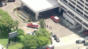 Two people were injured in a shooting near LAX on June 25, 2014. (Credit: KTLA)