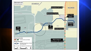 "A map posted on Metro's blog June 26, 2014, shows the proposed route of a ""people mover"" between LAX and the approved Crenshaw Line station. (Credit: Metro)"