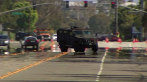 Authorities responded to the Los Angeles Air Force Base in El Segundo, which was on lockdown for more than three hours June 17, 2014, due to a report of suspicious person. (Credit: KTLA)
