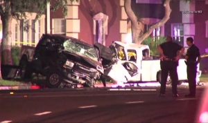 A man died in Montebello after a car crashed into a parked vehicle on June 29, 2014. (Credit: OnScene)
