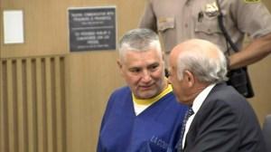Robert Pimentel speaks to his attorney before his June 19, 2014, sentencing in Long Beach. (Credit: KTLA)