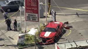 At least three vehicles were damaged after a crash at a bus stop in North Hills on June 17, 2014. (Credit: Google Maps)