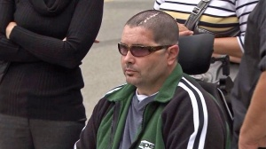 Bryan Stow appears outside Los Angeles County Superior Court  on Wednesday, June 25, 2014. (Credit: KTLA)