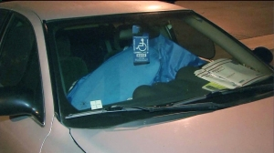 Diane Stretton was seen sitting in her car outside the Upland police station on Friday, June 27, 2014. (Credit: KTLA)